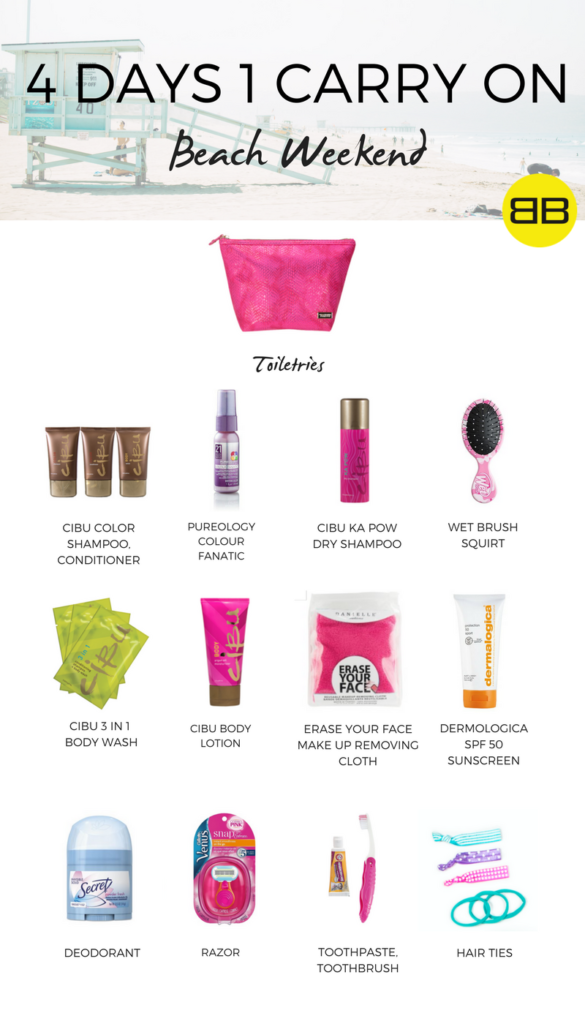 4 Days, 1 Carry On: How to Pack for a Beach Weekend: Sample toiletry packing list for beach weekend including an assortment of mini beauty products available at Bubbles Salons