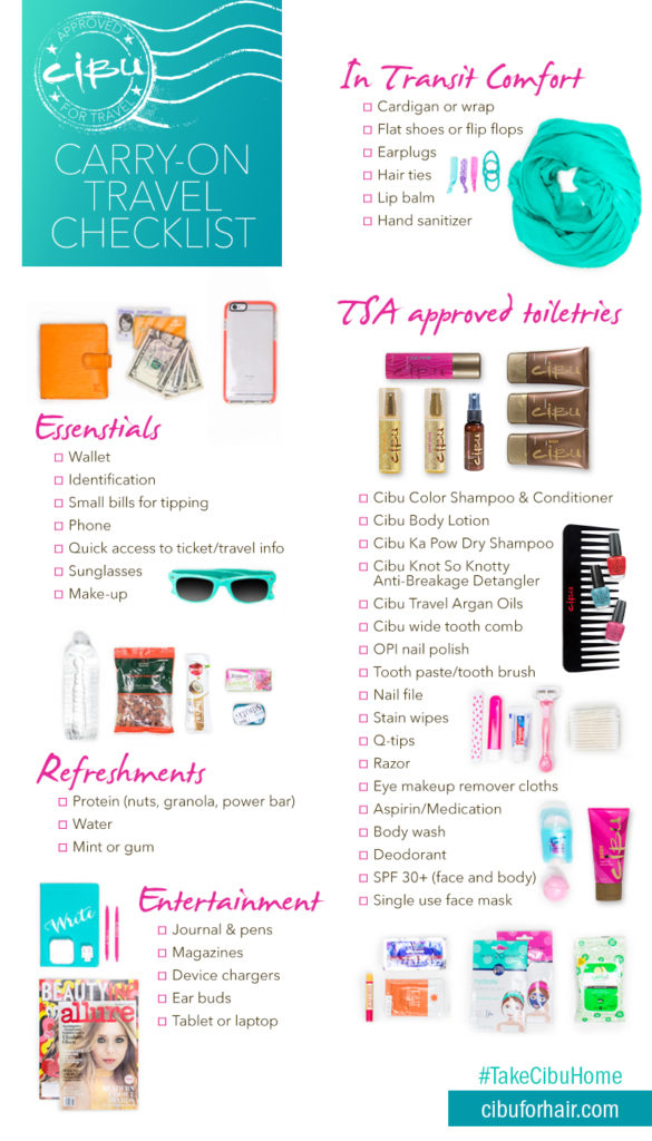 4 Days, 1 Carry On: How to Pack for a Beach Weekend   Cibu Travel Checklist: Handy travel checklist compiling all the items you want to bring on a plane