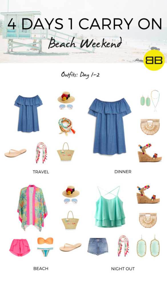 4 Days, 1 Carry On: How to Pack for a Beach Weekend   Outfit Ideas, Day 1-2 : 4 beach weekend outfits for travel, dinner, beach and dancing