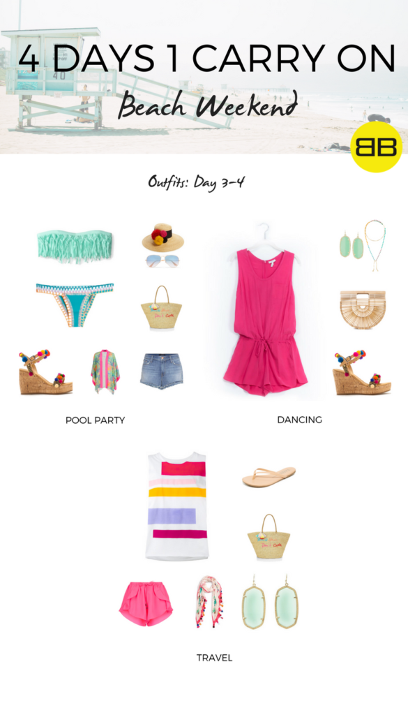 4 Days, 1 Carry On: How to Pack for a Beach Weekend   Outfit Ideas, Day 3-4: 4 beach weekend outfits for pool party, dancing and travel home