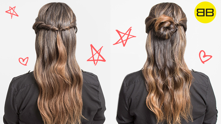 Two air dry hair style finished looks. Left: half up twist ponytail; Right: right half up bun on long hair brunette model, Bubbles Bestie and Salon Pro Heather Ramos