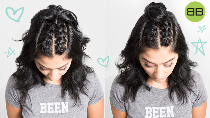 #BubblesBesties Air Dry Hair Styles | Double Dutch Braid + Half Bun: Two finished styles on model Saba's dark, wavy hair