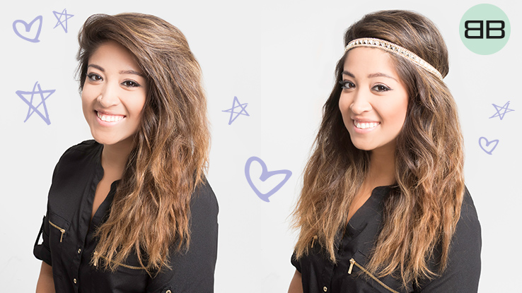 #BubblesBesties Air Dry Hair Styles | Boho Headband Wrap: 2 views of finished looks on model Heather's brown wavy hair