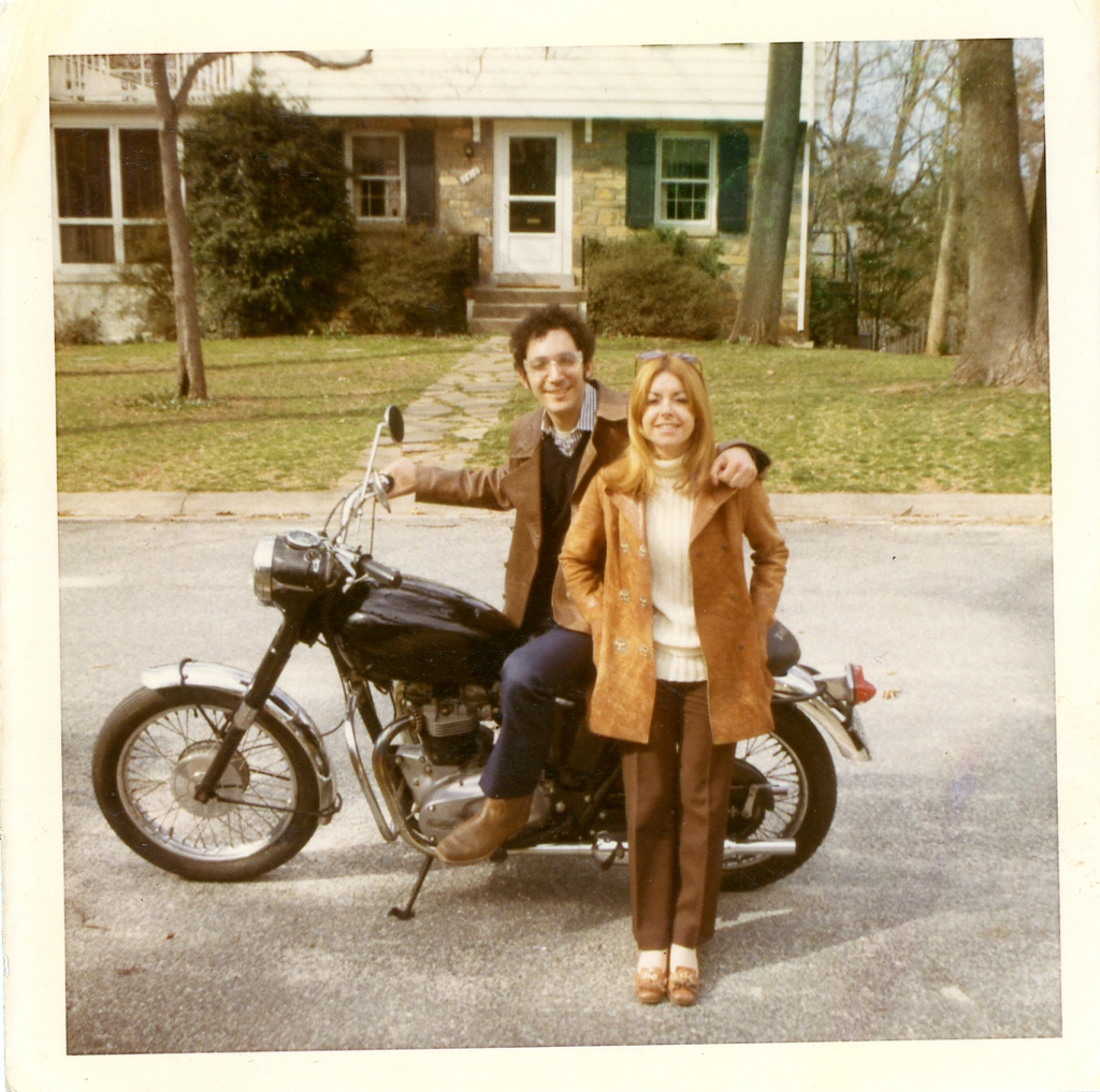 Picture of Bubbles Salon founder Ann Ratner and ex-husband Dennis Ratner next to a motorcycle