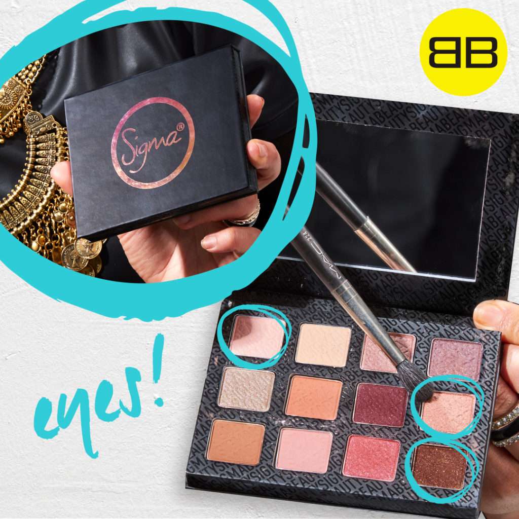 Party Perfect with Sigma Beauty | Image of Saba holding Sigma Warm Neutrals Eye Shadow with 3 shades selected