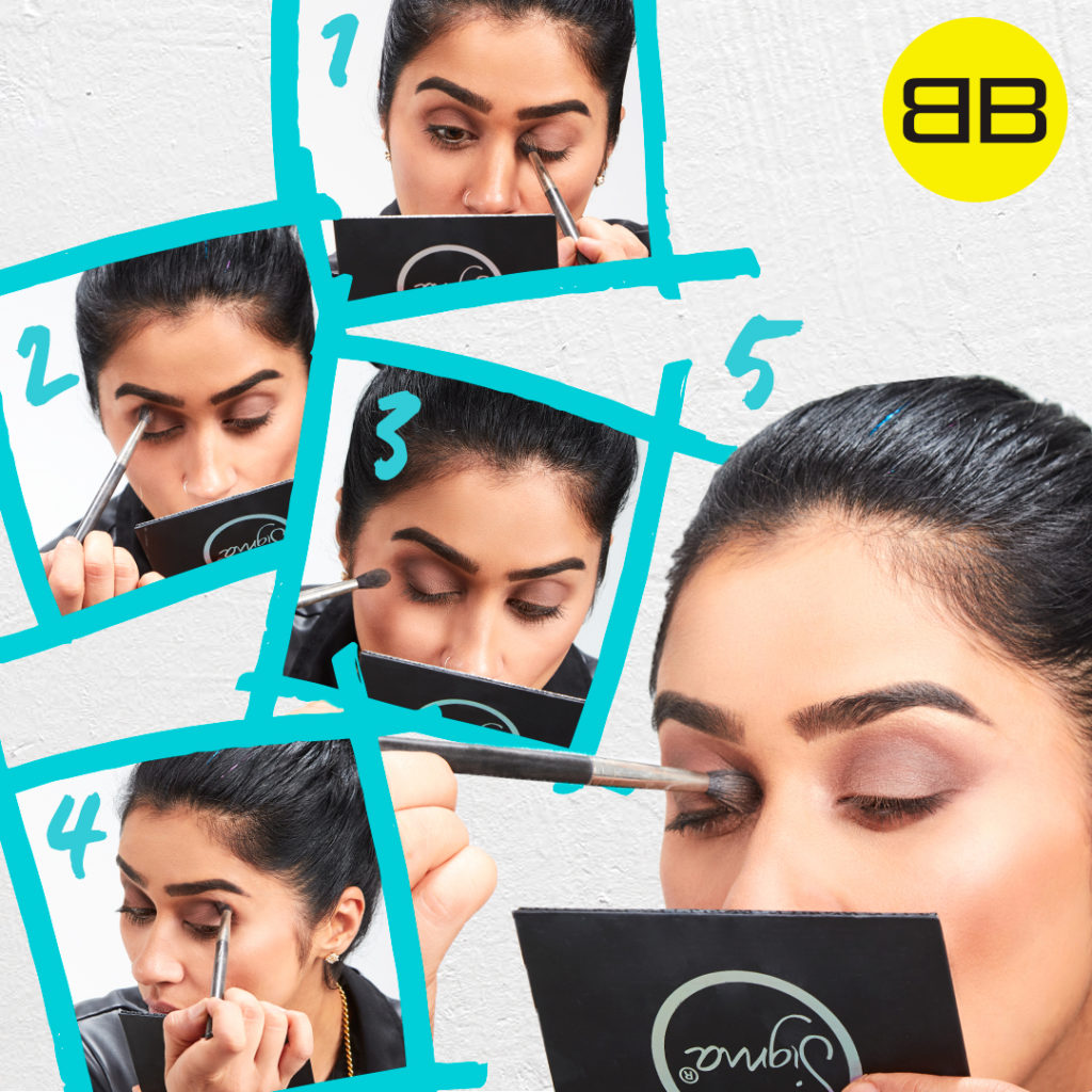 Party Perfect with Sigma Beauty | Image of Saba creating smoky eye look in 5 steps