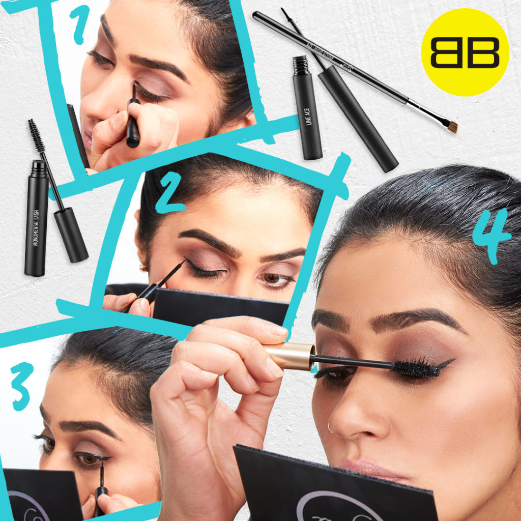 Party Perfect with Sigma Beauty | Image of Saba creating a cat eye liner look in 3 steps