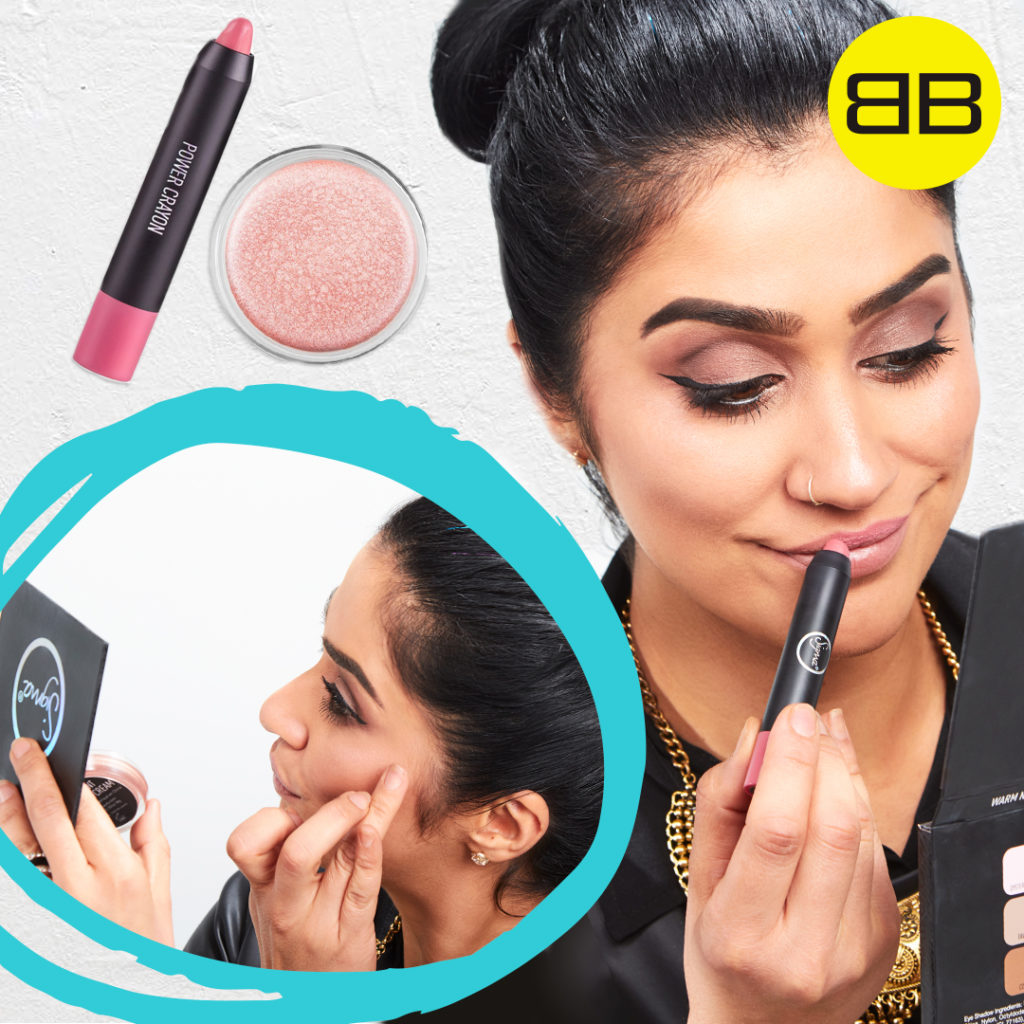 Party Perfect with Sigma Beauty | Image of Saba applying highlighter to brow bone and natural lip