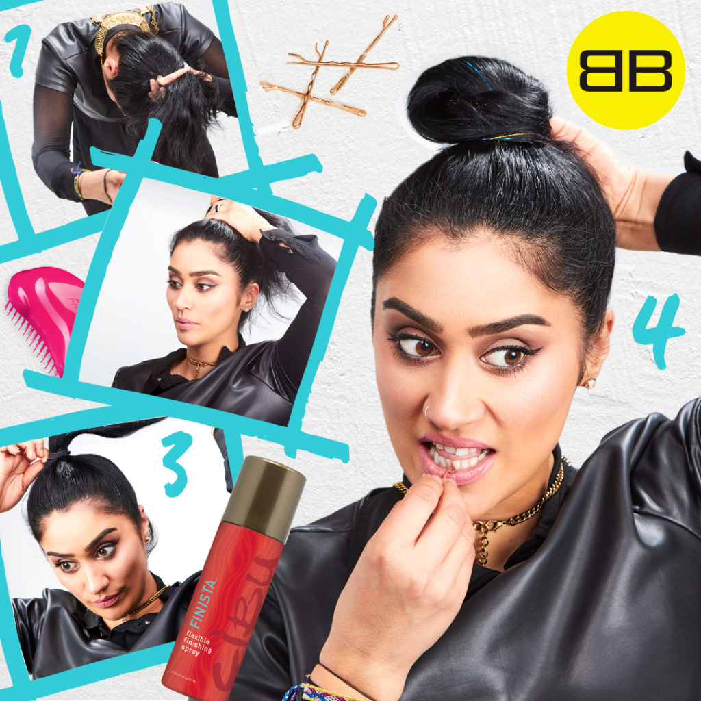Party Perfect with Sigma Beauty | Image of Saba creating a top knot in 4 step