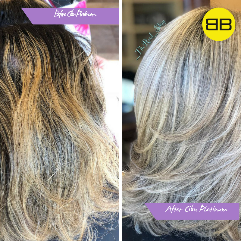 Purple Shampoo | Before and after image of blonde model shampooed with Cibu Platinum