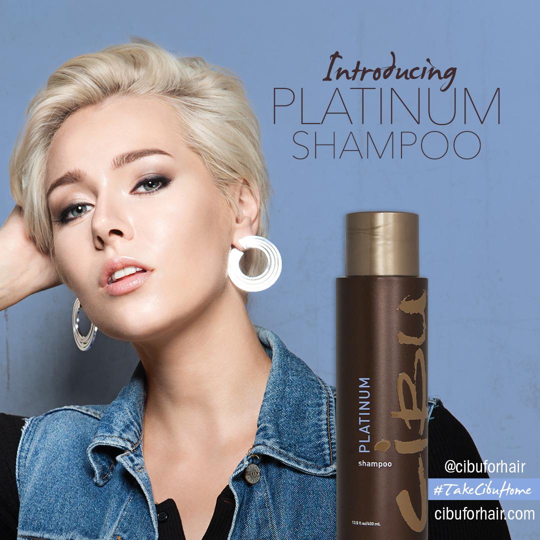 Purple Shampoo   Image of Cibu Platinum Shampoo with short hair blonde model