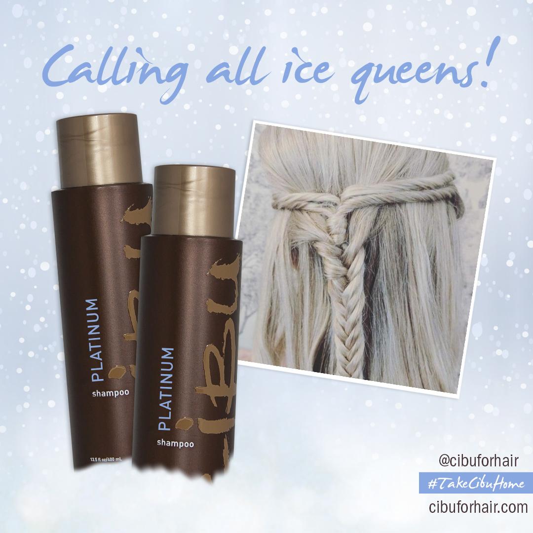 Purple Shampoo | Image of Cibu Platinum Shampoo with long hair blonde model