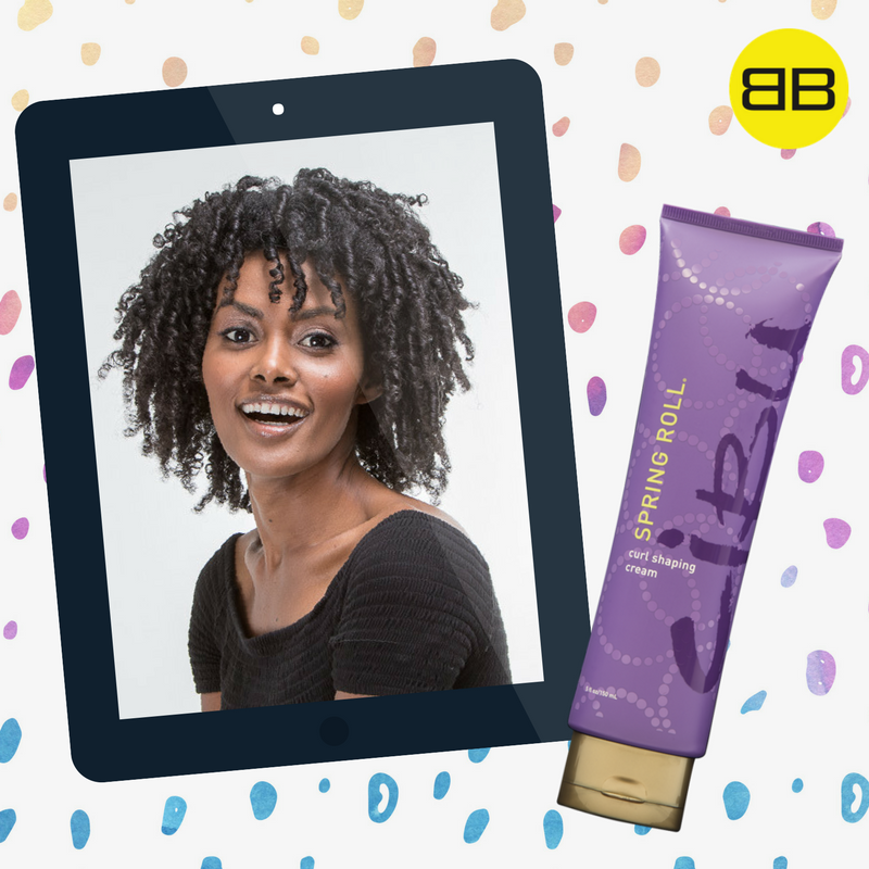 Cibu Hair Products Solve Top Hair Concerns | Image of curly haired model with bottle of Cibu Spring Roll