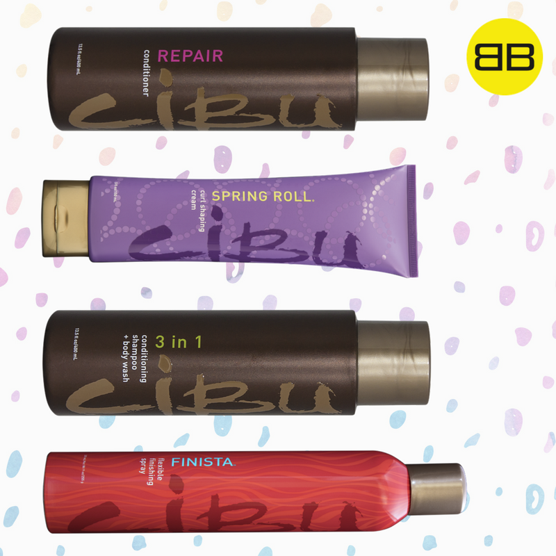 Cibu Hair Products Solve Top Hair Concerns | Image of 4 Cibu products that smell great: Finista, Spring Roll, 3 in 1, Repair