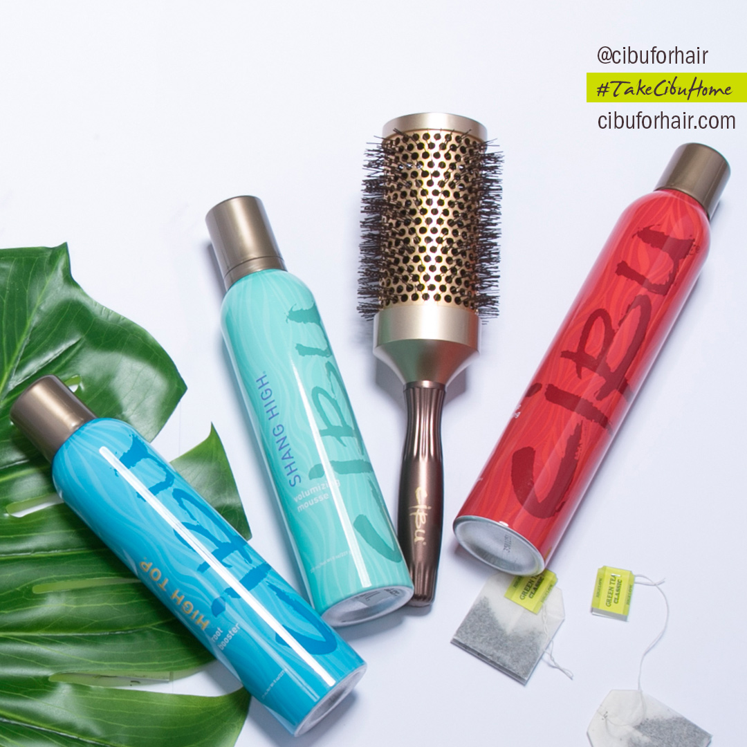 Cibu Volume Blowout Essentials: Cibu Shang High Mousse, Cibu High Top Root Booster, Medium Round Brush, Cibu Finista Flexible Finishing Spray