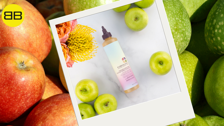 Picture of Pureology Vinegar Hair Rinse and apples, dandruff remedy