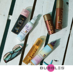 Image of several haircare products with heat protecting benefits including Pureology Vinegar Rinse and Cibu Shine Squad Argan Oil Treatment